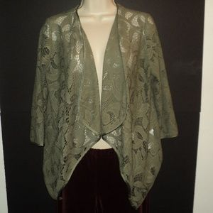 Chico's 0, XS (Runs Larger) Jacket Olive Green